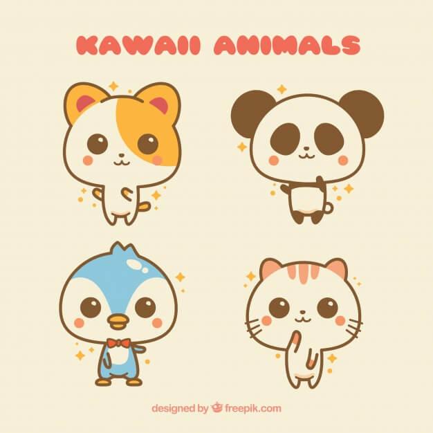 Kawaii animals set