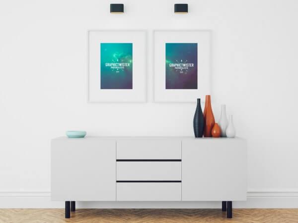 Picture Frames in Living Room Mockup