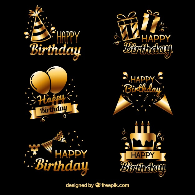 Pack of golden birthday stickers