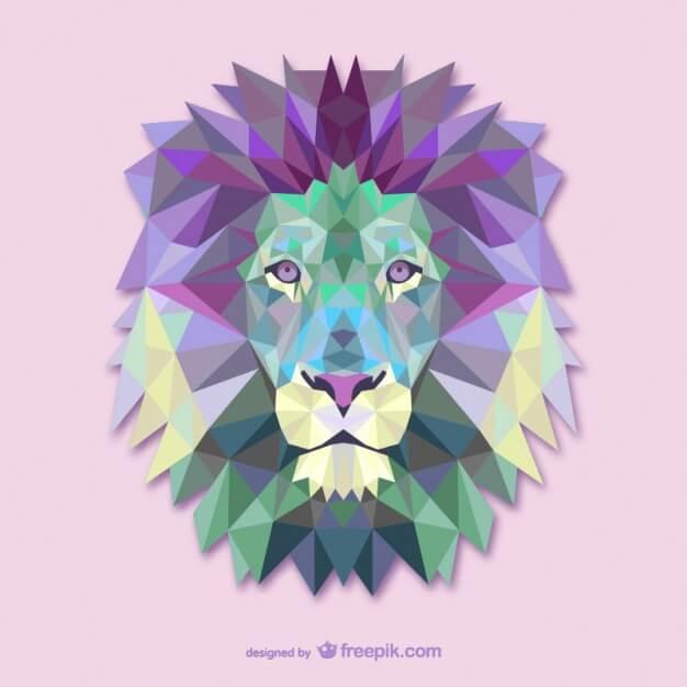 Polygonal lion head