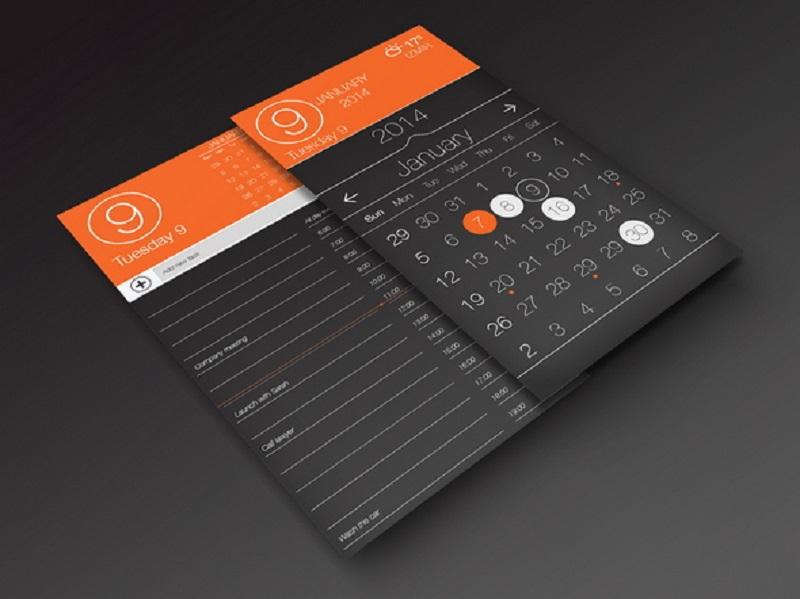 (Free PSD) Calendar App Ui, Task Page