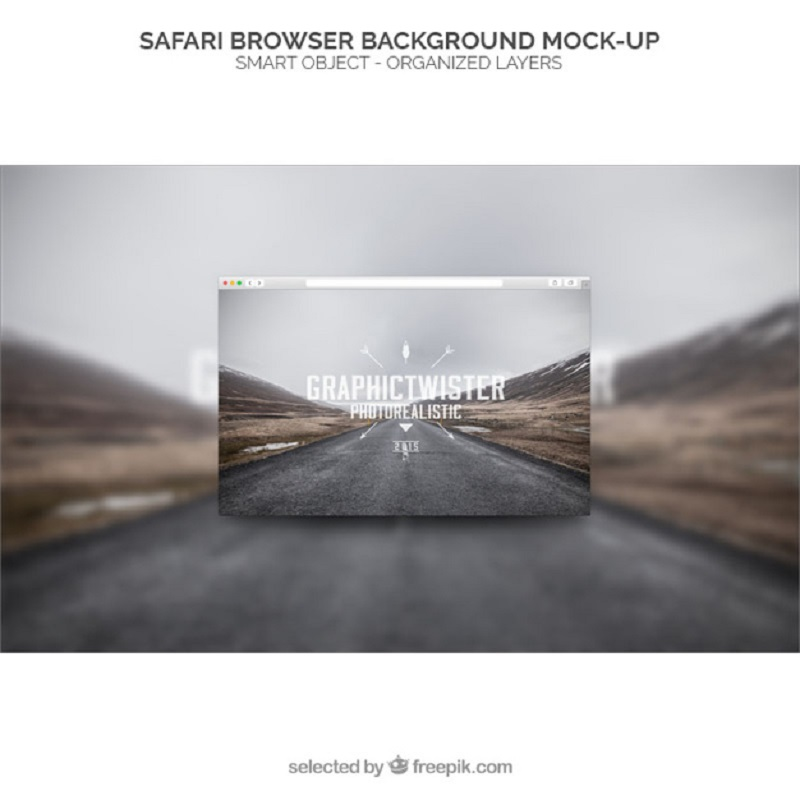 Safari Browser Background Mockup Free Psd