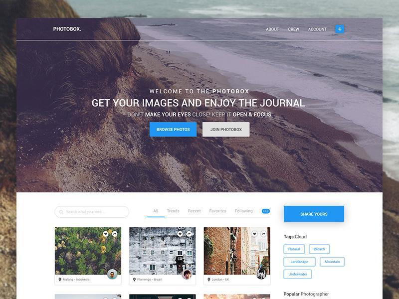 Photobox – PSD Blog Photographers Templates