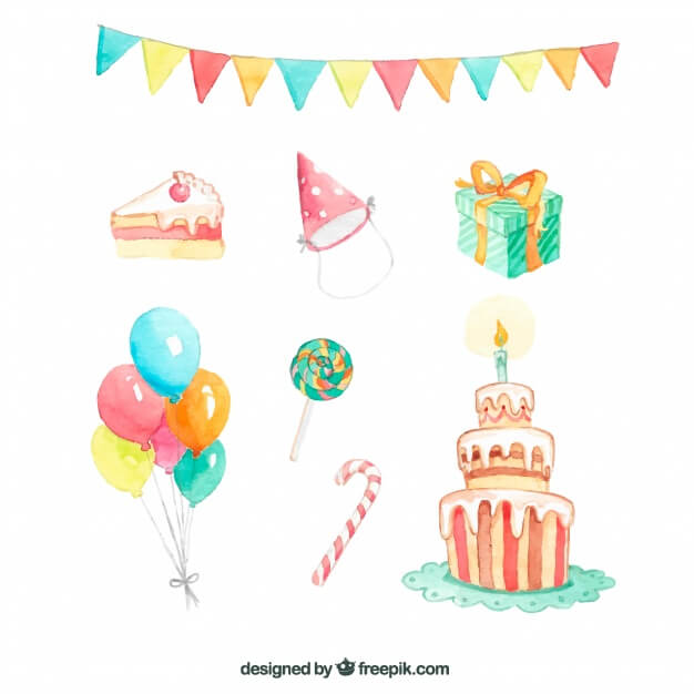 Watercolor birthday elements
