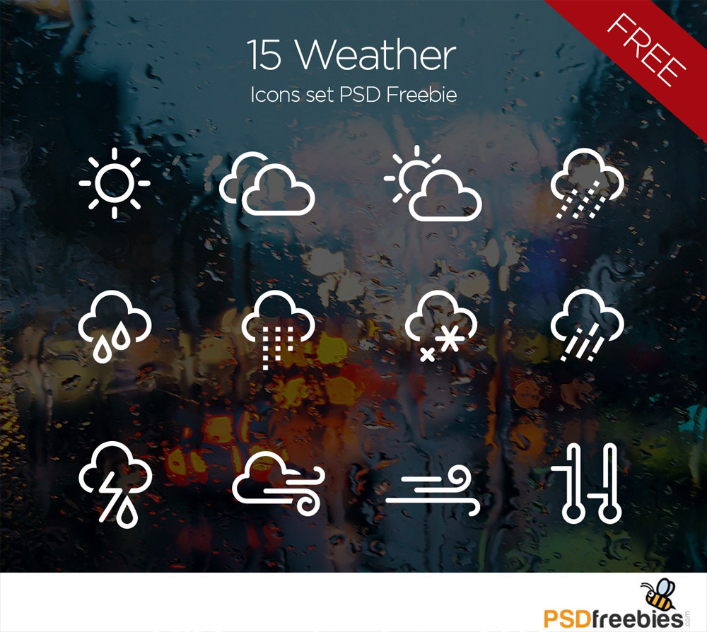 Weather Icons set PSD Freebie