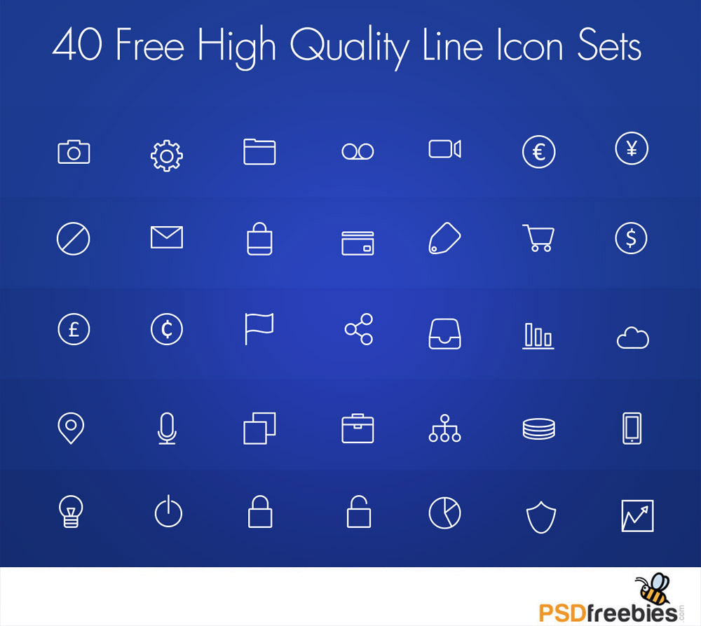 Free High Quality Line Icon Set PSD