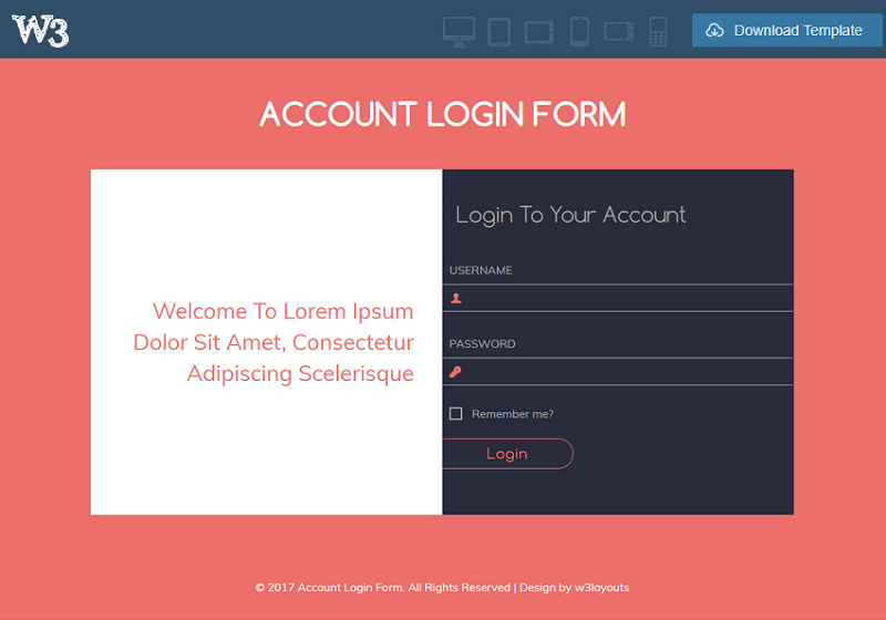 Account Login Form