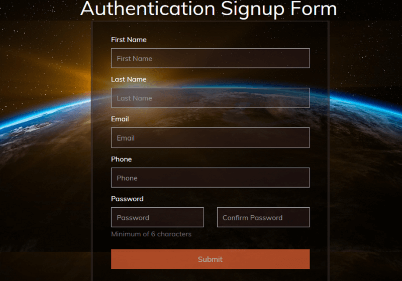 Authentication Signup Form