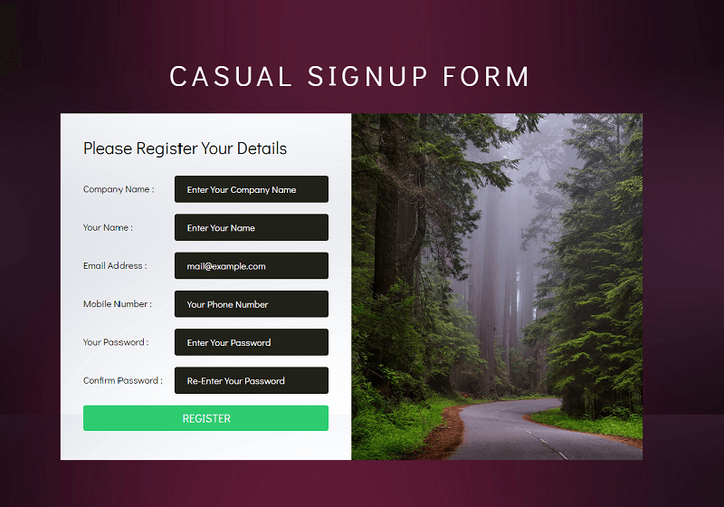 Casual Signup Form
