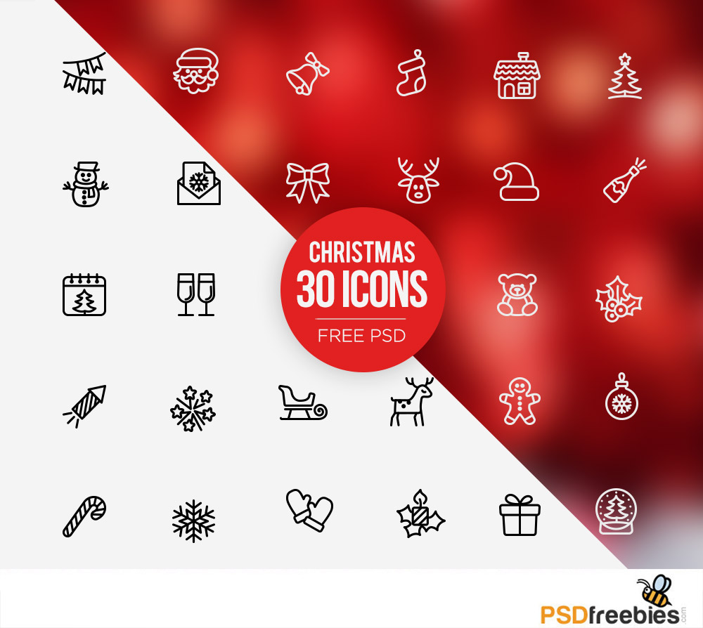 Christmas icons set Free PSD