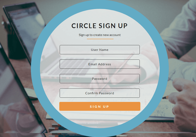 Circle Sign Up Form