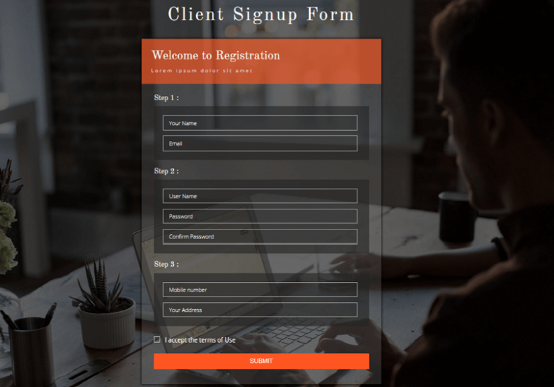 Client Signup Form
