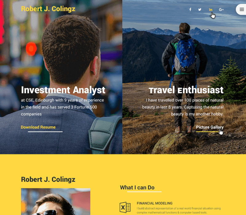 Colingz – Free Personal Web Template PSD
