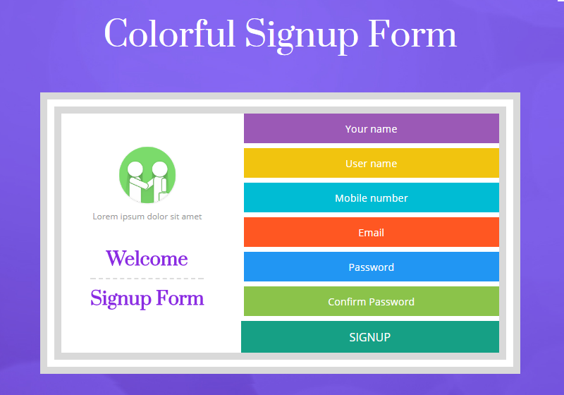 Colorful Signup Form