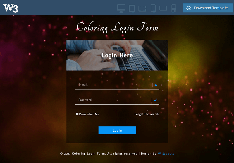 Coloring Login Form