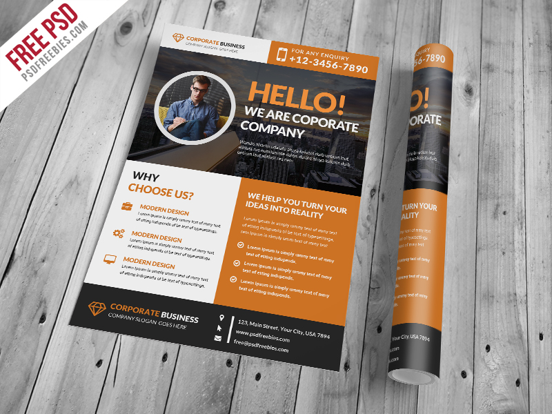 Corporate and Clean Business Flyer PSD Template