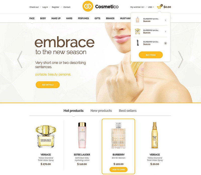 Cosmetico – Free eCommerce PSD