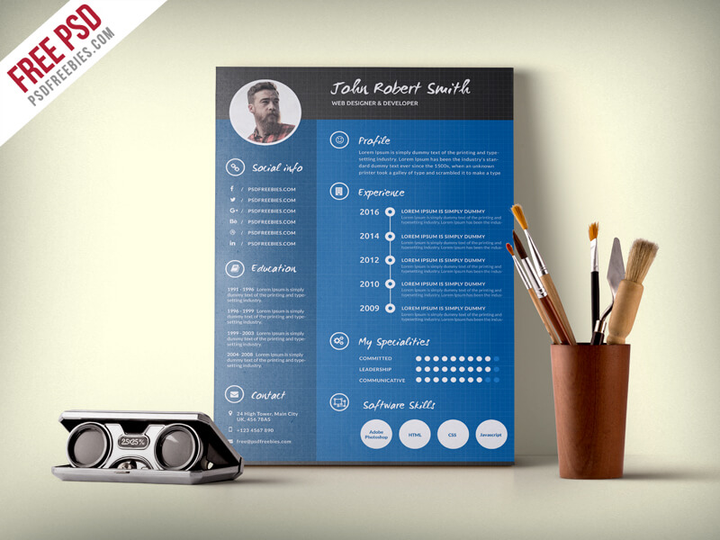 Creative and Professional Resume CV Free PSD Template
