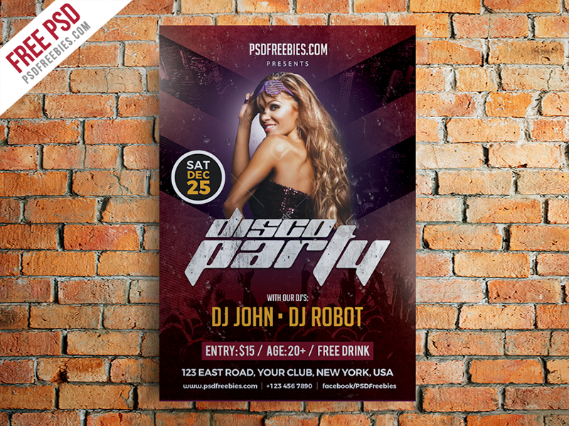 Disco Party Flyer Template Free PSD