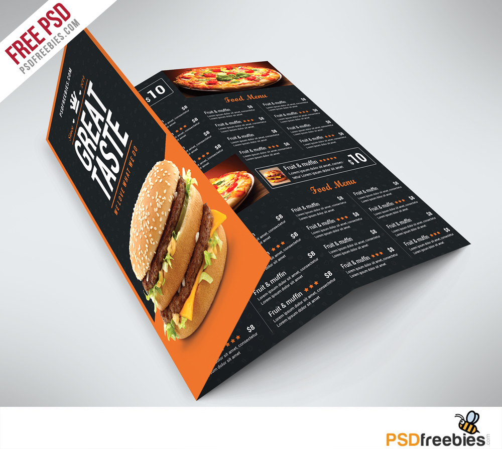 Fast Food Menu Trifold Brochure Free PSD