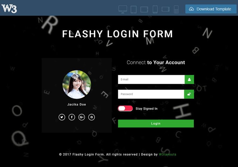 Flashy Login Form