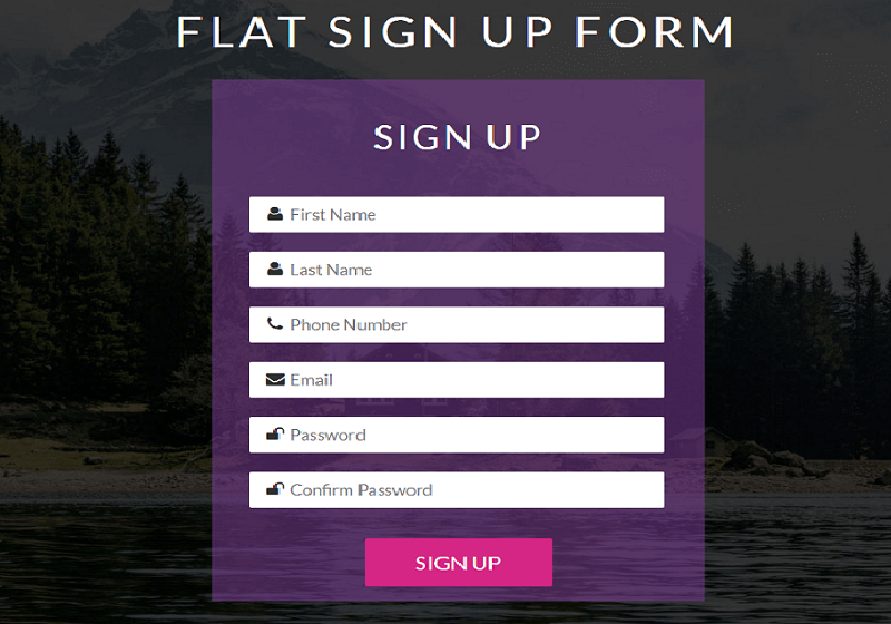 Flat Sign Up Form