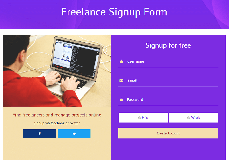 Freelance Signup Form