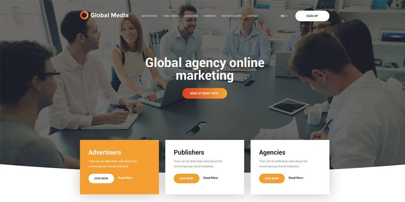 Global Media Web Template PSD