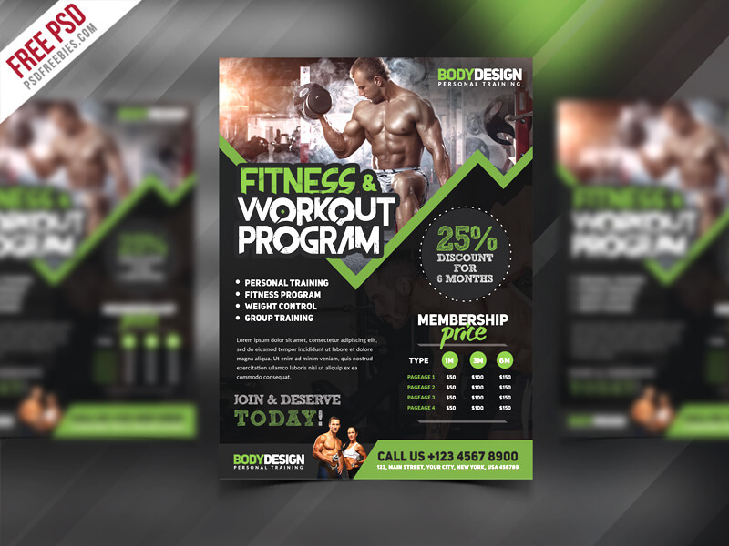Gym Fitness Workout Program Flyer PSD Template