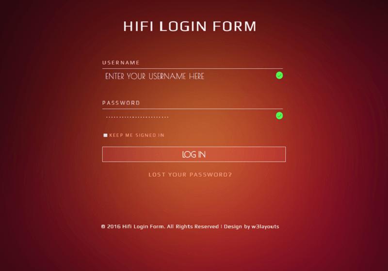 Hifi Login Form