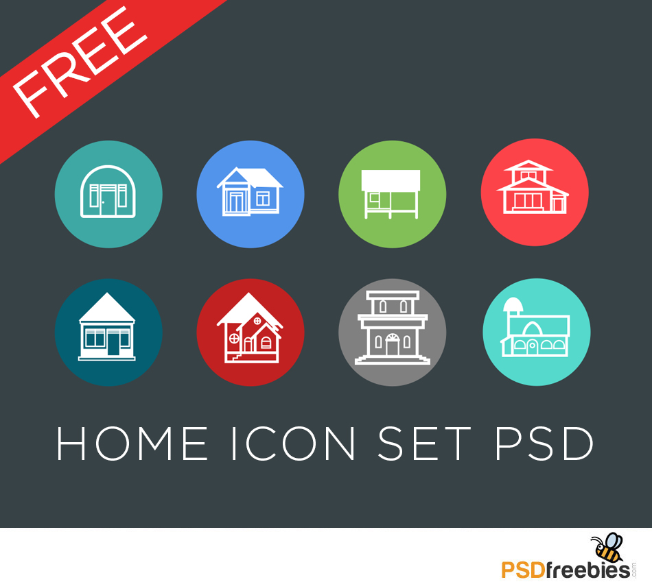 Flat style Home Icon set PSD