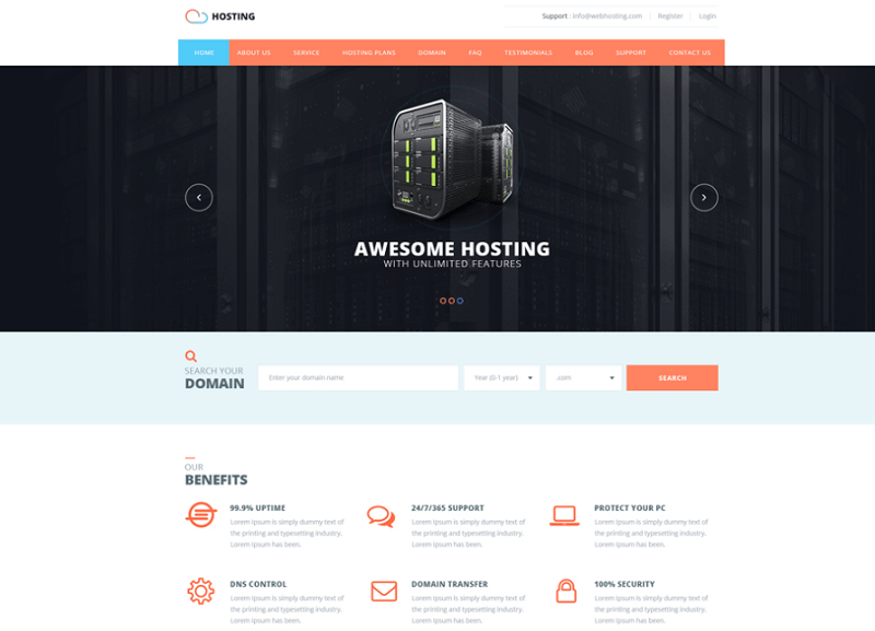 Hosting Web Template PSD