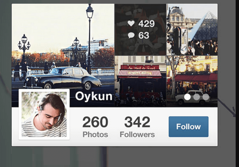 Instagram widget free PSD