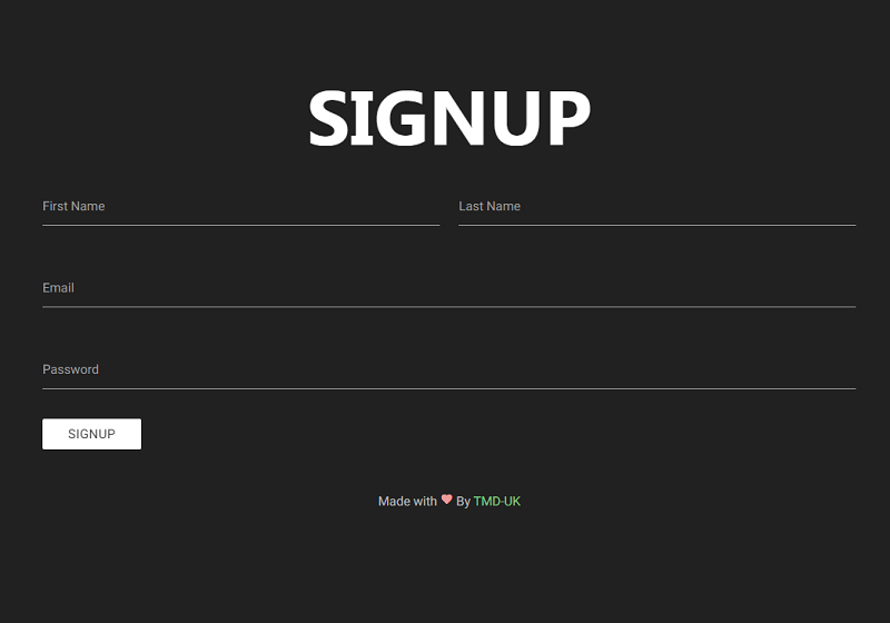 Minimal Material Signup Form