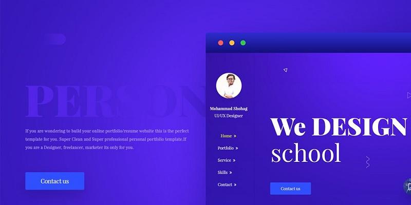 Minimal Portfolio Web Template PSD