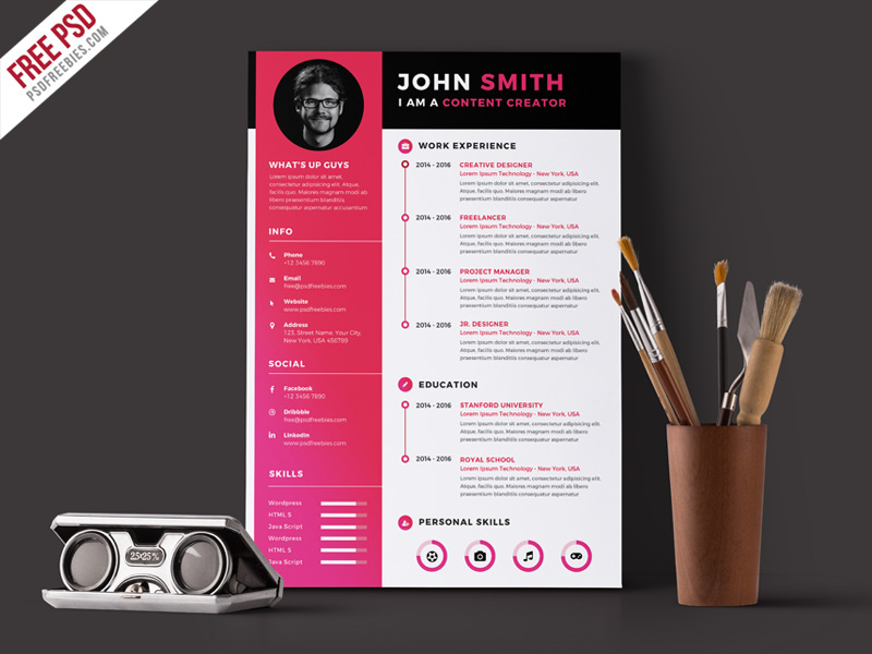 24 Best Free CV Resume PSD Templates 2019 HTML Designs