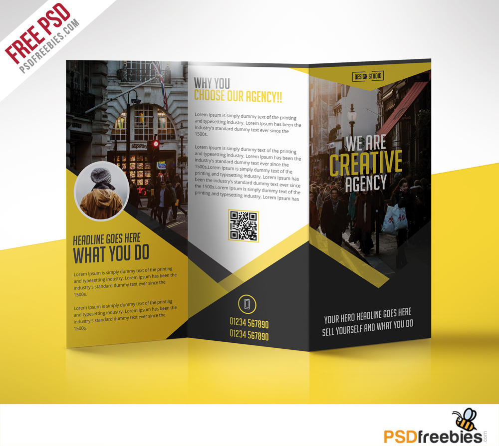 Sample Brochure Templates: 11+ Best TriFold Business Brochure PSD Templates 2019