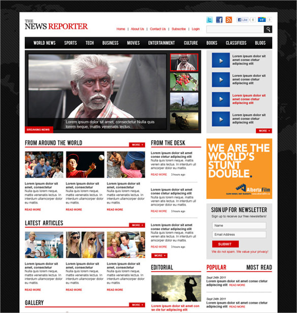 News Paper Magazine PSD Template