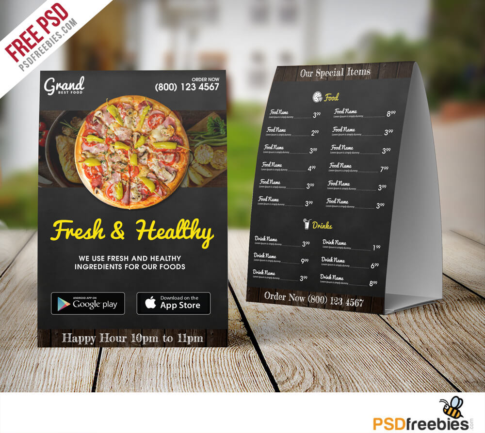 Restaurant Food Menu Table Tent Template Free PSD