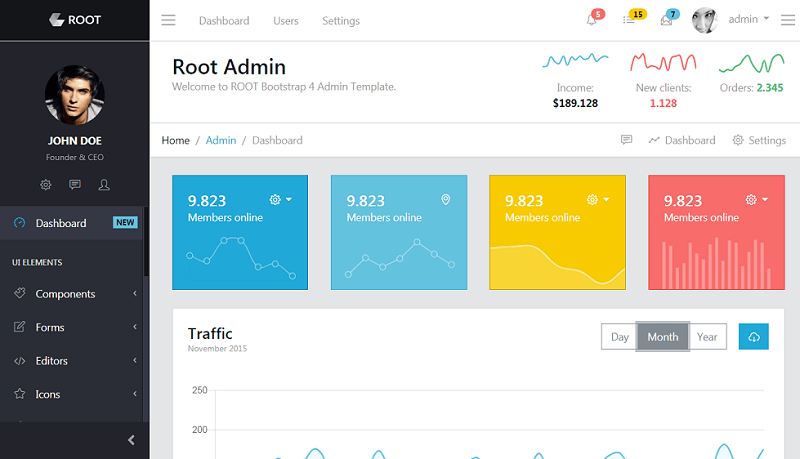 Root - Bootstrap Admin Template