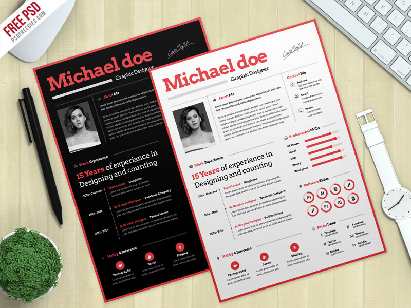 Simple CV Resume Template Free PSD