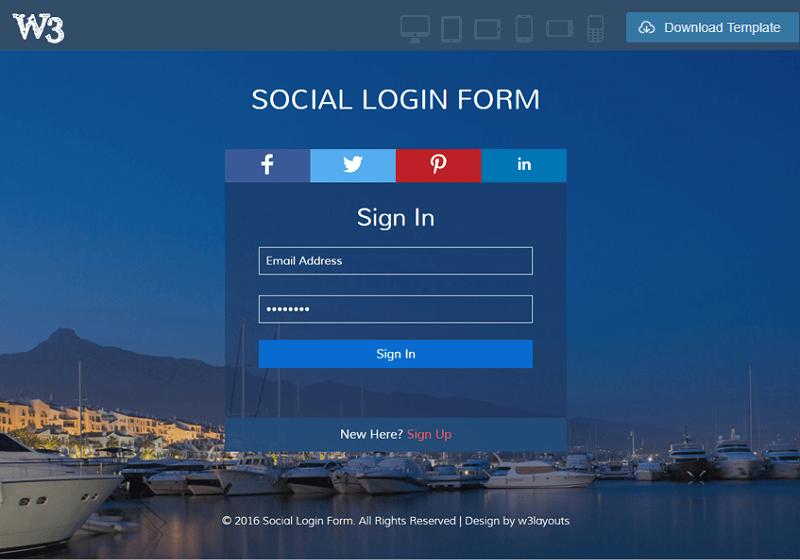 Social Login Form
