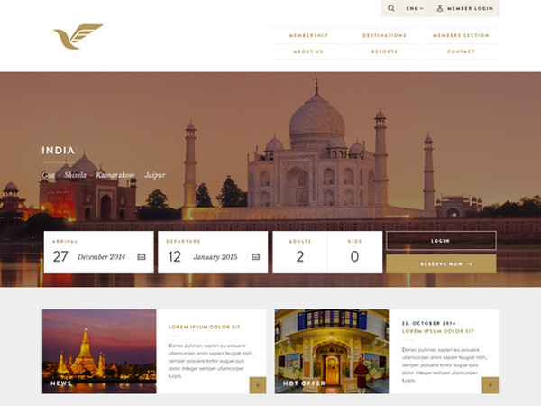 Travel Hotel Website Template