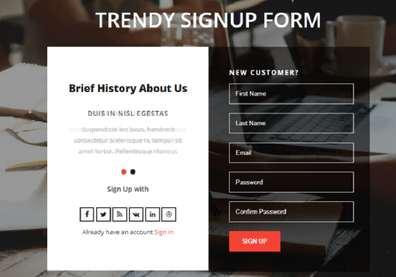 Trendy Signup Form
