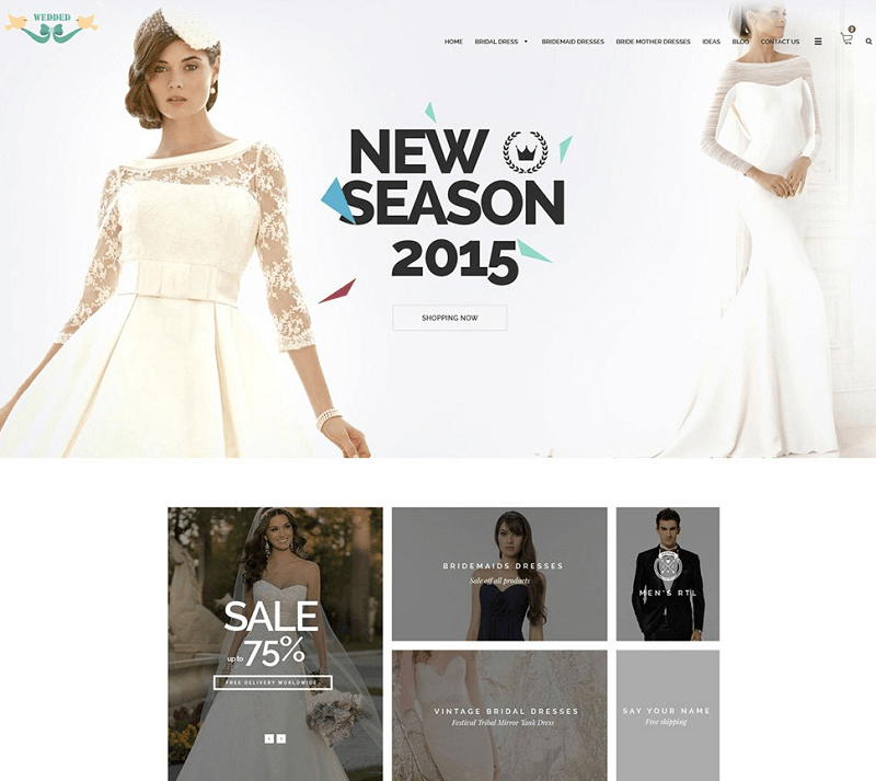 Wedding Dresses – Free Ecommerce Web Template PSD