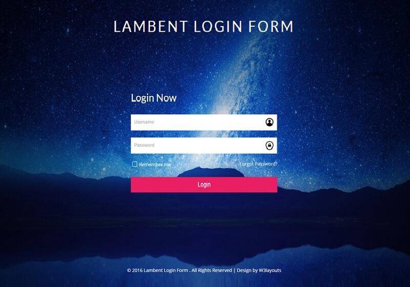 Lambent Login Form