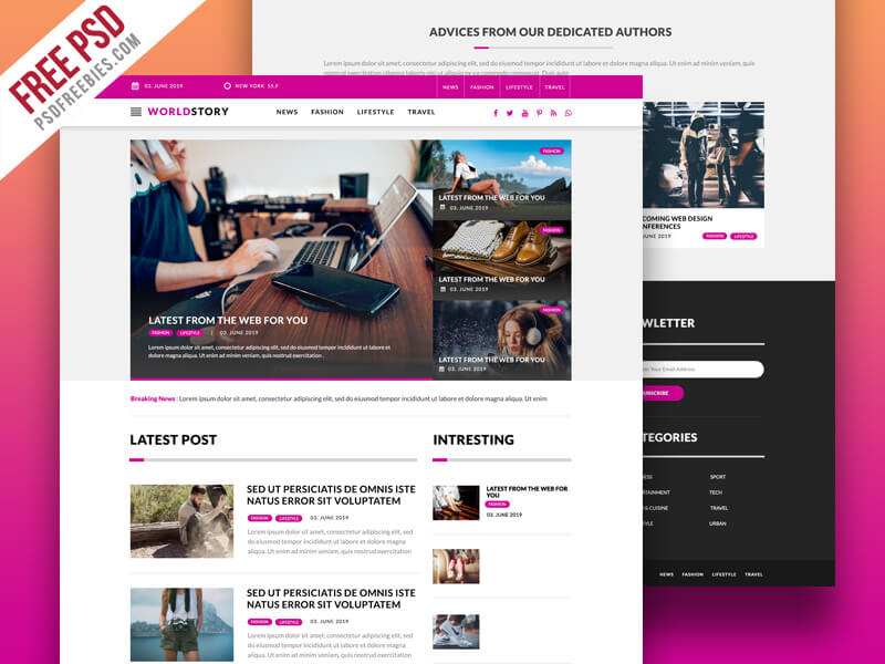 Multipurpose Magazine Blog Web Template PSD