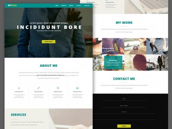 Single page portfolio – Free PSD