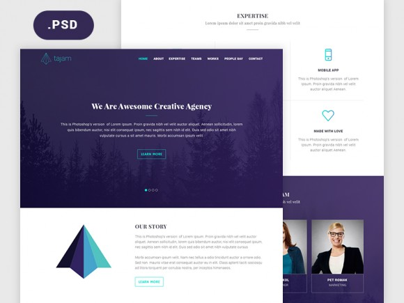 Tajam: PSD website template for agencies