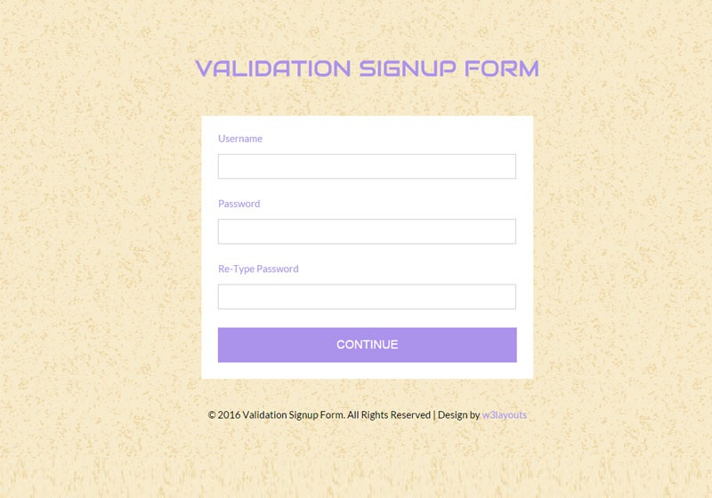 Validation Signup Form